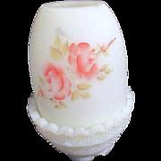 Fenton Fairy Lamp Roses on Custard 1972-83