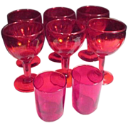 Red Glass Set of 6 Stemmed Goblets and 2 Shot Glasses