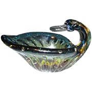 Art Glass Goose Bowl