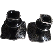Pair of Black Glass Candlesticks with Silver Overlay