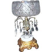 Crystal Bowl on Stand with Prisms and Marble Base