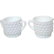 Set of Mini Milk Glass Hobnail Cream and Sugar