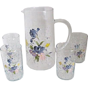 Clear Glass Pitcher with 4 Drinking Glasses Floral Decorations
