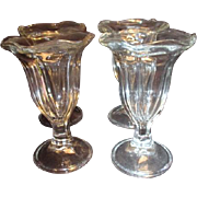 Set of Four Clear Glass Footed Sundae Soda Fountain Glasses