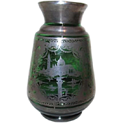 Small Green Glass Vase with Silver Overlay Scenes of Venice