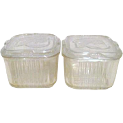 Pair of Federal Glass Refrigerator Storage Containers