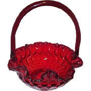 Fenton Ruby Red Glass Thumbprint Basket