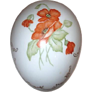 Signed Hand Painted Ostrich Sized Glass Egg with Poppies