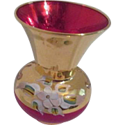 Small Bohemian Cranberry Glass Vase with Gold and Flower Overlay