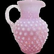 Fenton Cranberry Pink Opalescent Hobnail Pitcher