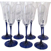 Set of 7 Champagne Flutes Blue Stemmed