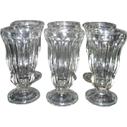 Set of 6 Clear Glass Soda Fountain Milk Shake Glasses