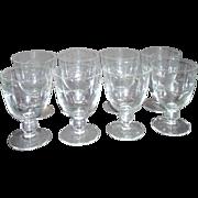Set of 8 Crystal Wine Goblets Floating Leaf Pattern