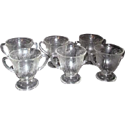 Set of 6 Double Handled Depression Clear Glass Dessert Cups