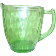 Florescent Green Uranium Glass Honeycomb/Hex Optic Pattern Pitcher by Jeannette