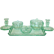 8 pc. Art Deco Green Depression Glass Vanity Set