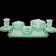 8 pc. Art Deco Green Depression Glass Vanity Set