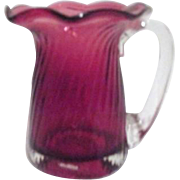 Soft Cranberry Colored Blown Glass Cup/Pitcher/Vase with Clear Handle