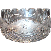 Small Crystal Bowl with Etched Floral Sides and Squared Scallopped Rim