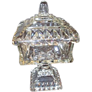 Small Clear Glass Footed Lidded Candy Dish