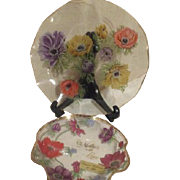 Lefton Small Bowl with Poppies Script To Mother with Love on Larger Plate Same Design