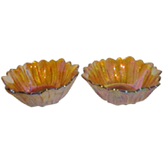 Set of 2 Indiana Glass Carnival Glass Bowls Lily Ponds Iridescent
