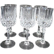 Set of 6 Crystal Wine Goblets Longchamps Pattern by Cristal d'Arques