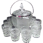 Covered Ice Bucket with 10 Whiskey Glasses Wexford Pattern by Anchor Hocking