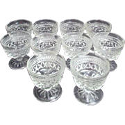 Set of 10 Footed Sherbet Bowls by Anchor Hocking Wexford Pattern