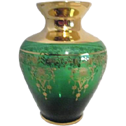 Vecchia Murano Small Green Vase with Gold Trim