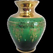 Vecchia Murano Small Green Vase with Gold Trim
