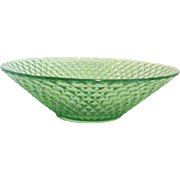 Florescent Green Uranium Glass Bowl with Diamond Pattern