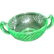 Flourescent Green Uranium Glass Double Handled Bowl with Swirling Pattern