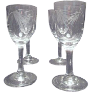 Set of 5 Crystal Cordials in Cut Wheat Pattern