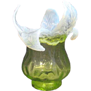 Blown Art Glass Vase Uranium Green Glass Bowl with Opalescent Flower Petals