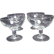 Set of 4 Clear Crystal Sherbet Servers with Cut Wheat Pattern