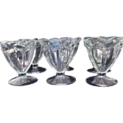 Set of 6 Clear Glass Sherbet or Ice Cream Footed Dessert Servers