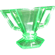 Florescent Uranium Green Glass Hexagonal Sugar Bowl