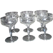 Set of 6 Crystal Wine Goblets Wheat Pattern