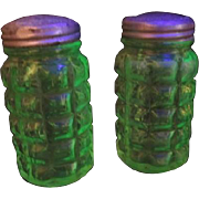 Pair of Florescent Green Glass Salt and Pepper Shakers with Original Aluminum Tops