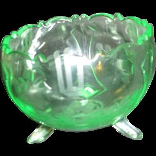Florescent Uranium Green Glass Footed Bowl