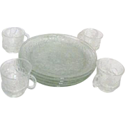 8 Piece Clear Glass Anchor Hocking Rain Flower Snack Set