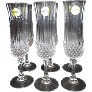Set of 6 Crystal Champagne Flutes Made in France Original Box