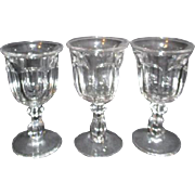 Set of 3 Clear Glass Footed Water Goblets