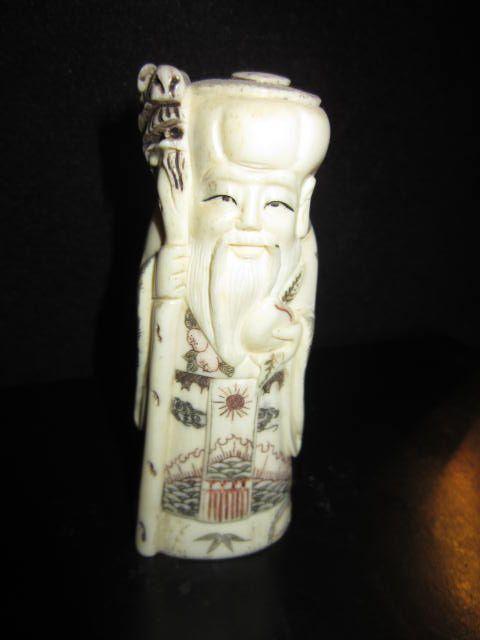 Vintage Bone Carved Man Holding Staff