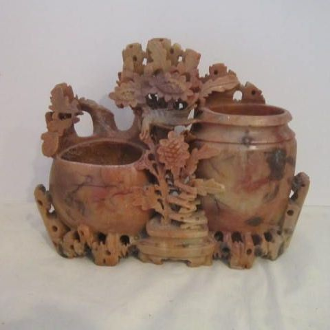 Antique Hand Carved Soap Stone Inkwell and Brush Holder ...