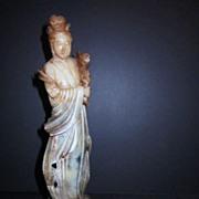 Vintage Soap Stone Carving Quan Yen Holding Flowers