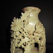 Vintage Hand Carved Soap Stone Vase