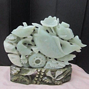 Vintage  Large Jade Carving of Swimming Koi and Plants