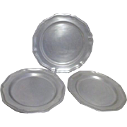Three Queen Anne Pewter Plates by Wilton Armetale